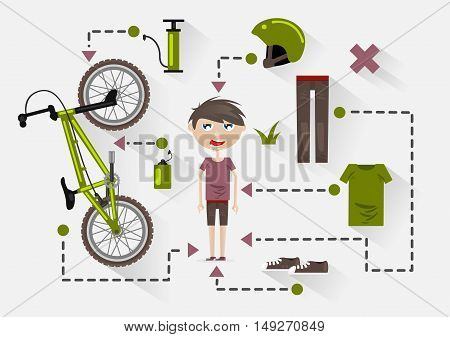 Flat guy with bike and items for riding a bike