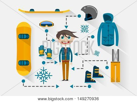 Flat guy with clothes and items for snowboarding
