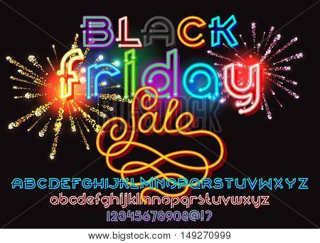 Black Friday Sale lettering with fireworks background. color neon typeface. Round font set. Vector alphabet