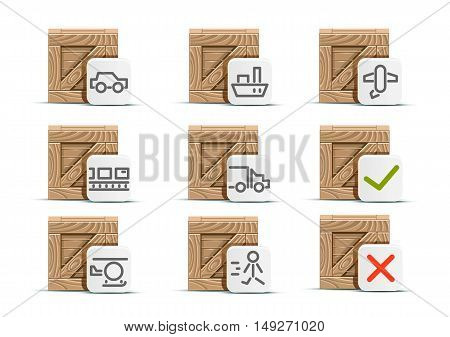 Wooden crates for delivering products on white background