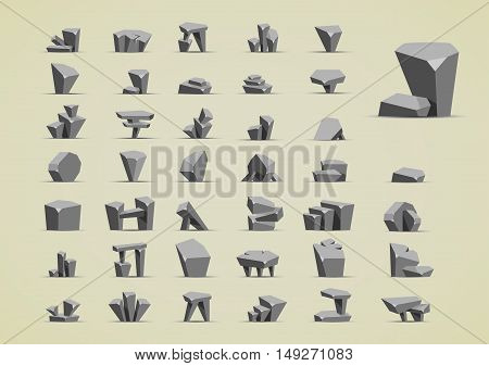 Big set of grey stones for creating video game