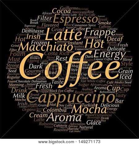Vector concept conceptual creative hot coffee, cappuccino or espresso round abstract word cloud isolated on background, metaphor to morning, restaurant, italian, beverage, cafeteria break energy taste