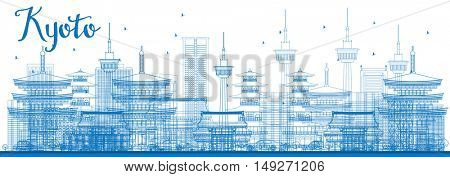 Outline Kyoto Skyline with Blue Landmarks. Business Travel or Tourism Concept with Modern and Historic Buildings. Image for Presentation Banner Placard and Web Site.