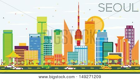 Seoul Skyline with Color Buildings and Blue Sky. Business Travel and Tourism Concept with Seoul Modern Buildings. Image for Presentation and Banner.
