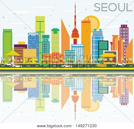 Seoul Skyline with Color Buildings, Blue Sky and Reflections. Business Travel and Tourism Concept with Seoul Modern Buildings. Image for Presentation and Banner.