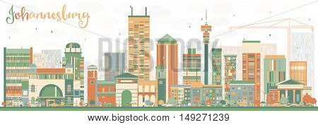 Abstract Johannesburg Skyline with Color Buildings. Business Travel and Tourism Concept with Johannesburg Modern Buildings. Image for Presentation and Banner.