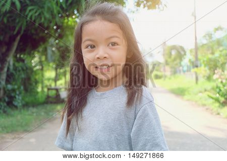 Portrait of a sweet preschool girl with smile