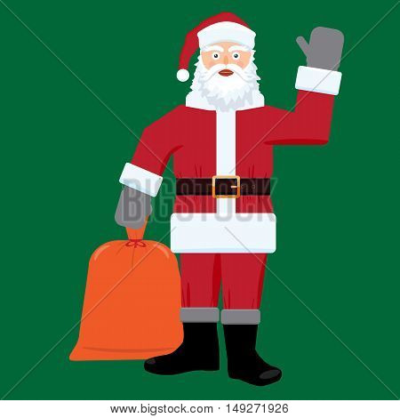Santa claus with big sac of gifts isolated. Flat and solid color design.