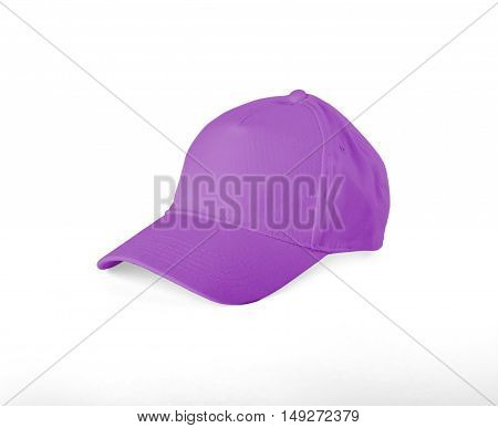 Pink Baseball Cap with shadow on white background