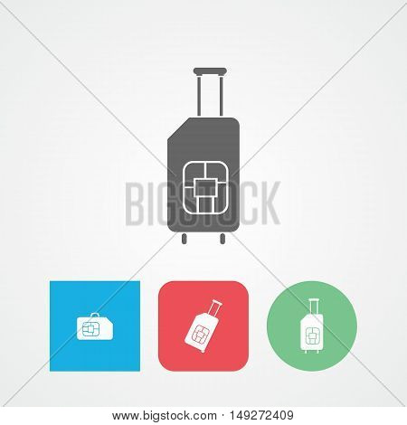 Travel SIM flat vector icon. Roaming. Luggage.