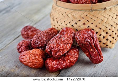 dried Chinese Jujube fruit on wooden table