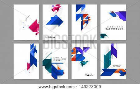 vector geometrical abstract backgrounds collection / trendy flat style geometric patterns with polygons for business covers / EPS10
