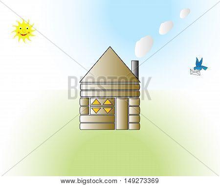 funny house cartoon vector illustration in landscape