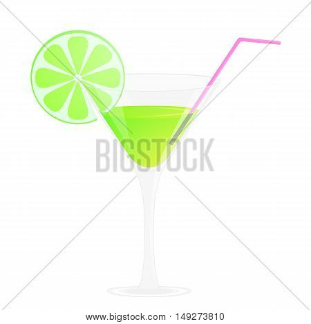 Green cocktail glass with straws and lime. Alcohol drink. Isolated on white vector illustration. Cartoon style.