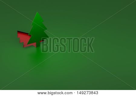 Green Christmas Tree pop up from paper cut 3d rendering