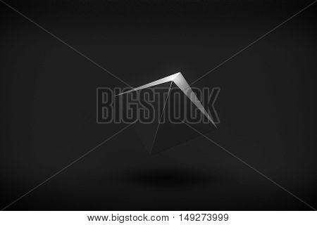 black pyramid levitation on black background 3d rendering