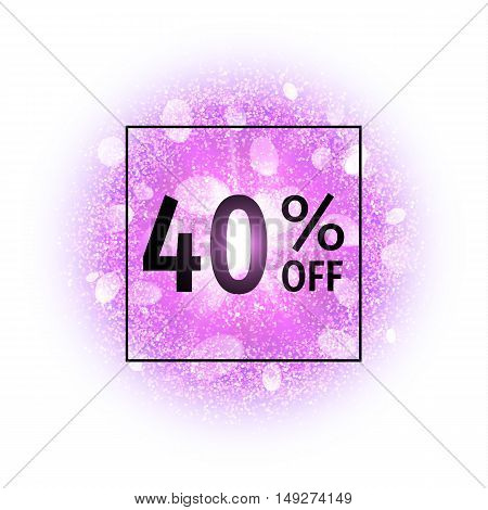 Sale banner 40 percents off on abstract explosion background with purple glittering elements. Burst of glowing star. Dust firework light effect. Sparkles splash powder background. Vector illustration