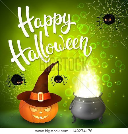 Halloween greeting card with witch cauldron hat pumpkin angry spiders net and brush lettering on green background with bubbles. Decoration for poster banner flyer design. Vector illustration