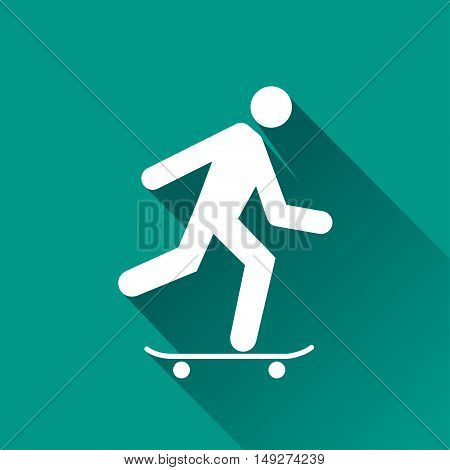 Illustration of skateboard design icon with shadow