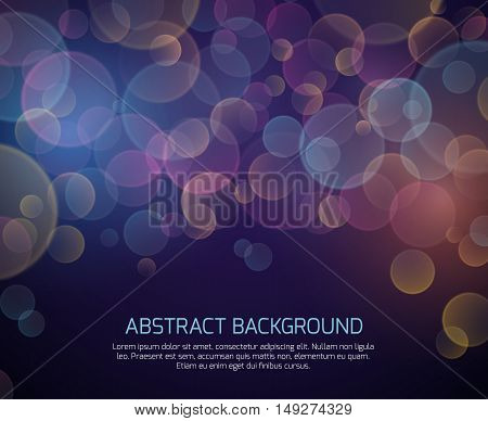 Abstract color bokeh vector background. Defocused backdrop with effect blurred illustration