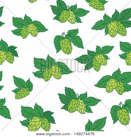 Seamless texture with sketch green hop illustration on white background