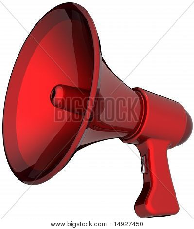 Red megaphone loudspeaker bullhorn
