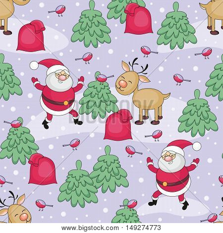Christmas seamless pattern with Santa Claus's image, a deer and a bag with Christmas gifts