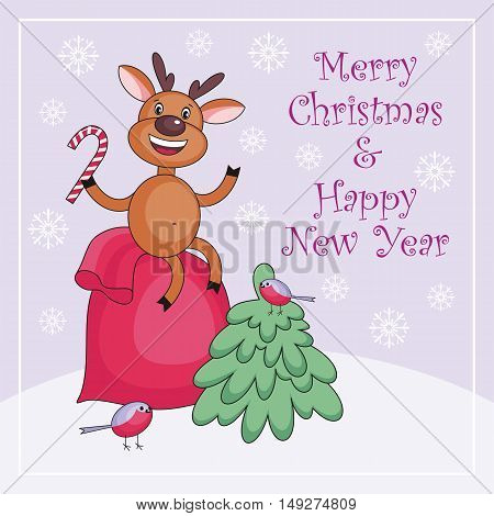 Merry Christmas greeting card with the image of the deer sitting on a bag with Christmas gifts