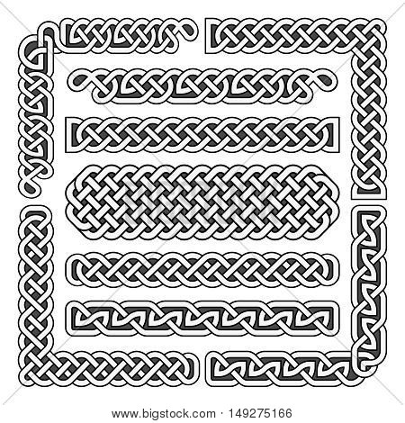 Celtic knots medieval seamless borders, patterns, and ornament corners. Vector pattern brushes set. Structure of scottish pattern illustration