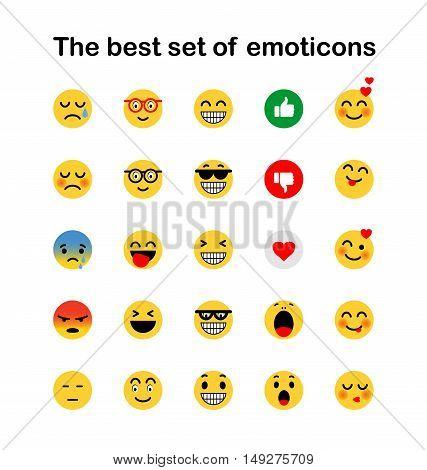Set of Emoticons. Set of Emoji. Smile icons. vector illustration on white background
