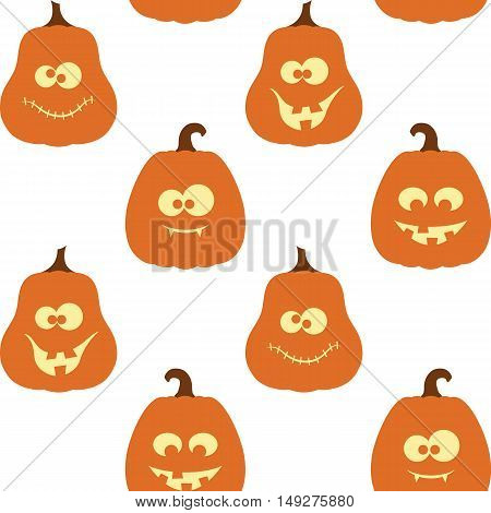 Seamless pattern with creepy crazy and funny pumpkins for Halloween design