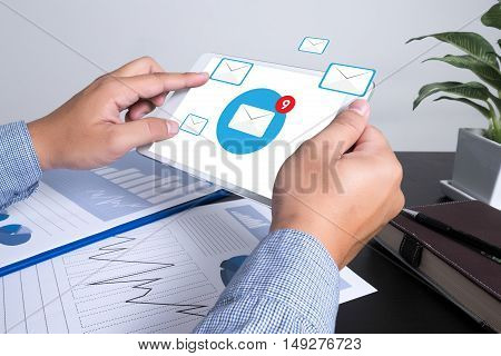 email icon Concept Concept business man work hard
