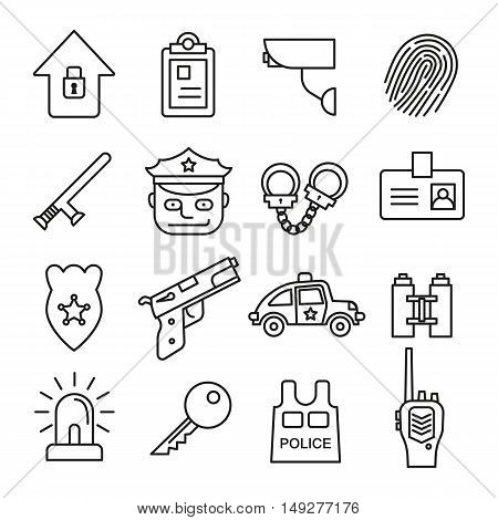 Police linear icon set. Security agency isolated vector illustration. on white background.