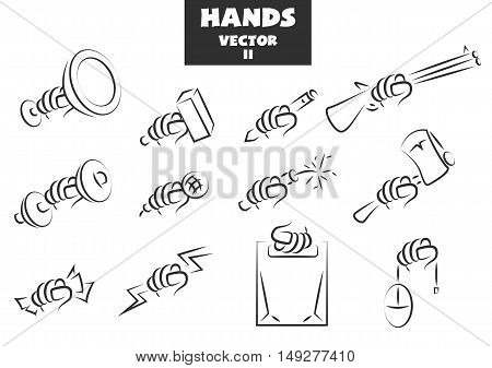 Big set of hands with different objects