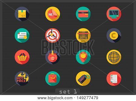 Set of sixteen flat shopping icons on black background