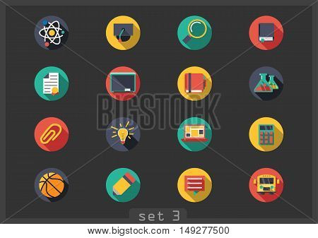 Set of sixteen flat school icons on black background