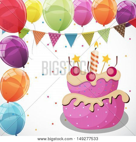 Color Glossy Happy Birthday Balloons, Flags and Cake Banner Background Vector Illustration EPS10
