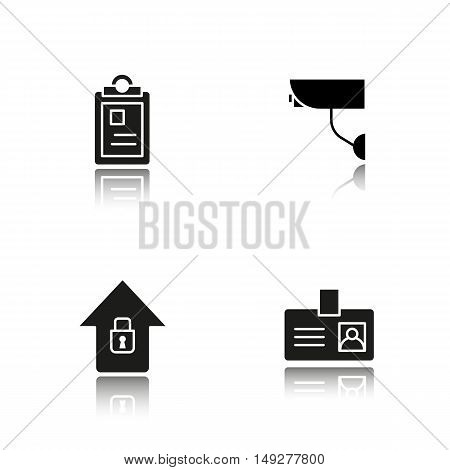 Police drop shadow black icons set. File, camera, badge symbol. Isolated vector illustrations