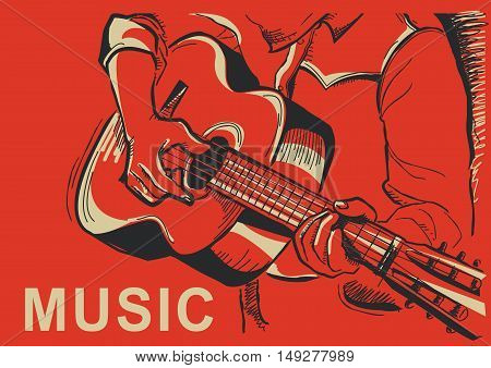 Musician Playing Guitar Poster Illustration