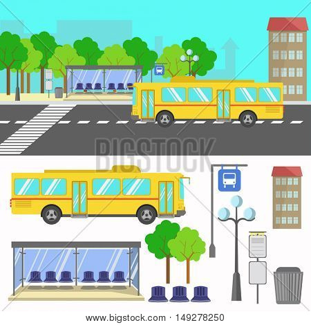 Bus stop. Set of street city elements. signs and icons in flat design. Urban concept. Vector illustration isolated on white background.