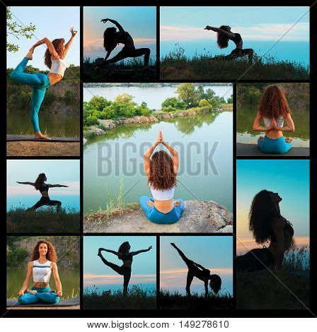 The collage from silhouettes of young woman is practicing yoga at sunset