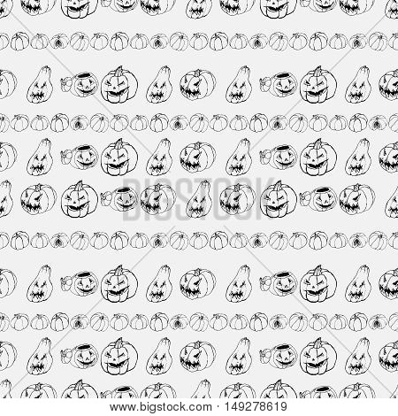 Halloween background with set of scary Jack-O-Lantern pumpkins. Seamless hand drawn pattern, vector black and white doodle ornament. Sketchy illustration. Good for web, print, wrapping paper.