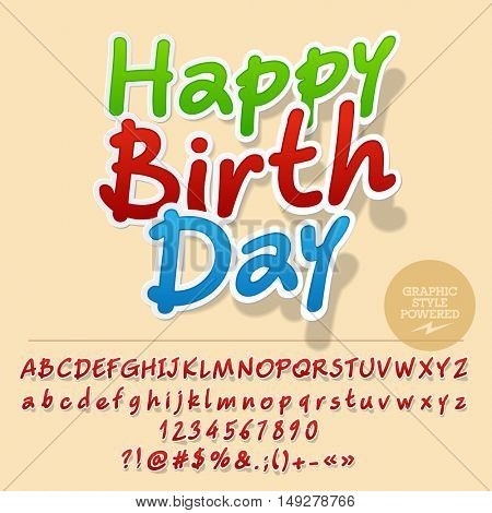Vector sticker greeting card with set of letters, symbols and numbers. File contains graphic styles