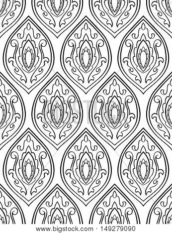 Vector background with damask. Seamless oriental ornament. Template for wallpaper fabric textile carpet. Black and white pattern.