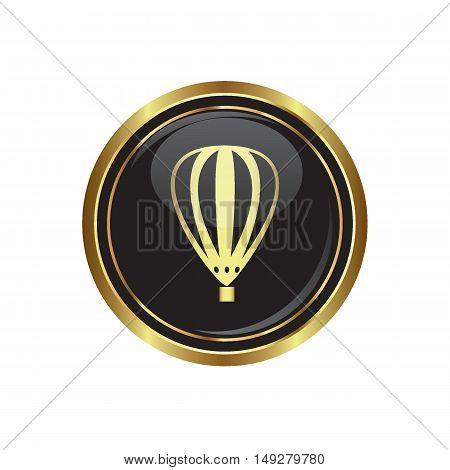 Hot air balloon icon on the button. Vector