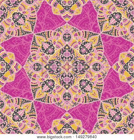 Seamless pattern of mandalas on a lilac background. Oriental ornament. Template for carpet shawl wallpaper.