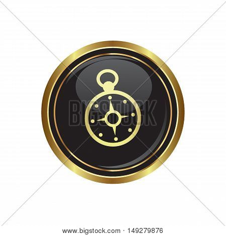 Compass icon on the button. Vector illustration