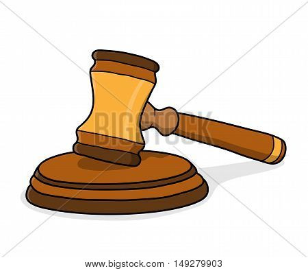 Gavel Law Hammer Justice. A hand drawn vector illustration of a gavel.