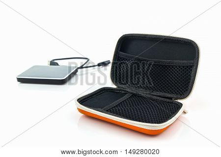 External hard drive carrying case. Bags for external hard drive on a white background.
