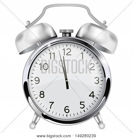 Alarm clock. Retro vintage clock. Twelve o'clock. Vector illustration isolated on white background